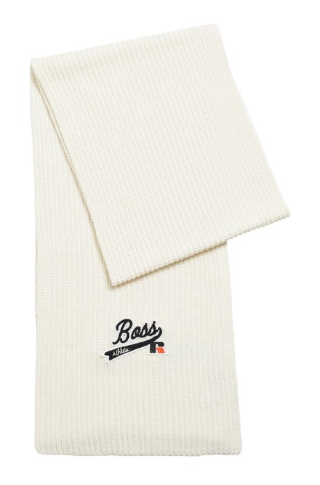 Ribbed scarf with exclusive logo, White