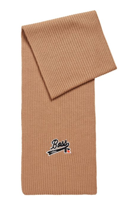 Ribbed scarf with exclusive logo, Beige