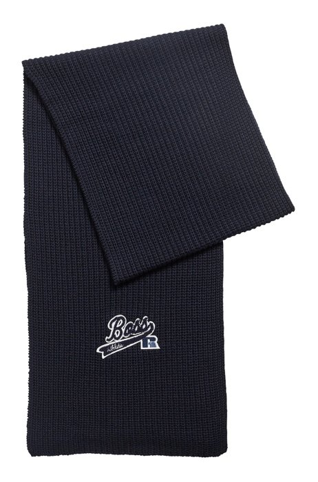 Ribbed scarf with exclusive logo, Dark Blue