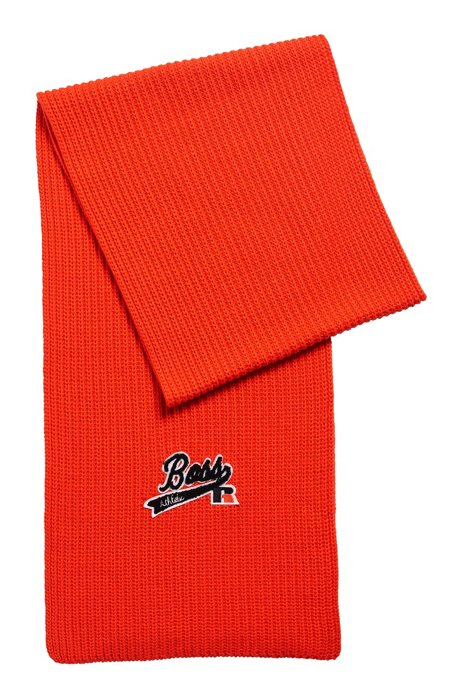 Ribbed scarf with exclusive logo, Orange