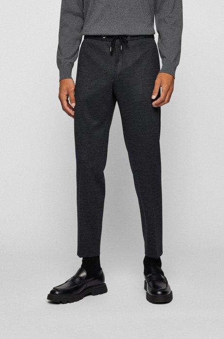 Pantaloni slim fit in jersey elasticizzato mélange, Grigio