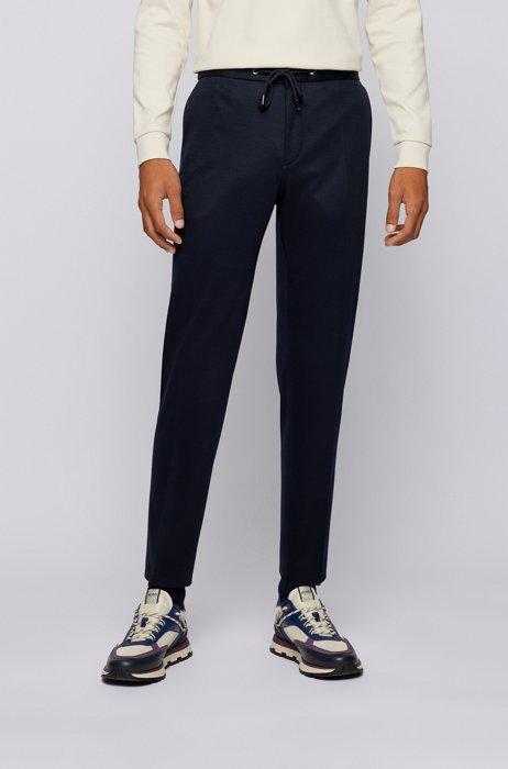 Slim-fit trousers in melange stretch jersey, Dark Blue