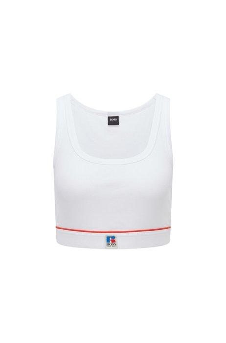 Unterhemd aus Stretch-Baumwolle mit Logo der Kollektion, Weiß
