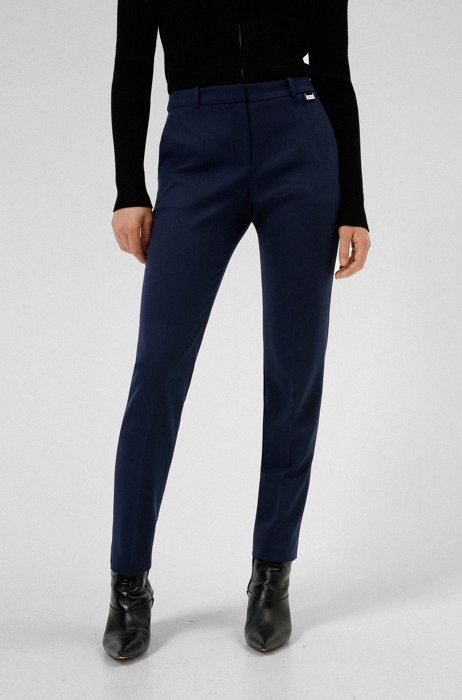 Regular-fit trousers in micro-patterned stretch fabric, Dark Blue
