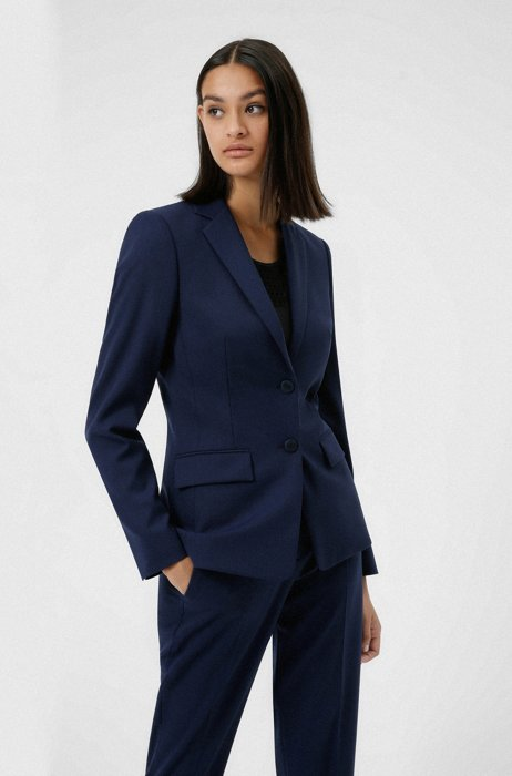Regular-fit jacket in patterned stretch fabric with wool, Dark Blue