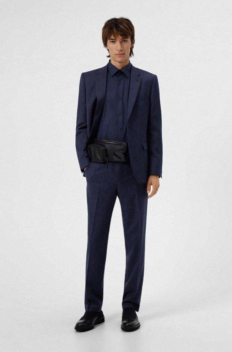 Gemusterter Regular-Fit Anzug aus Woll-Mix, Türkis