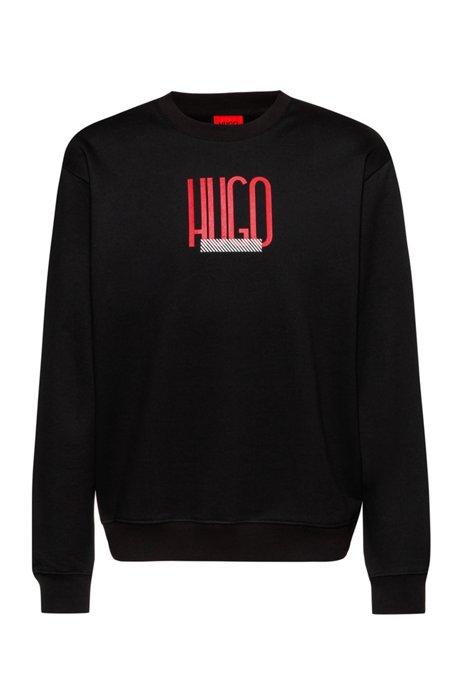 Relaxed-fit sweater van sweatstof met logoprint, Zwart