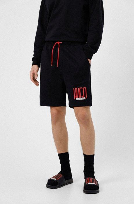 Regular-Fit Shorts aus French Terry mit Logo-Print, Schwarz