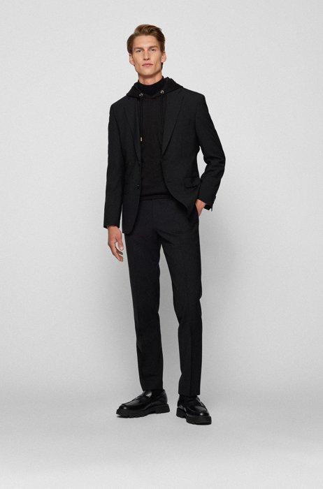 Melierter Regular-Fit Anzug aus Woll-Mix, Schwarz