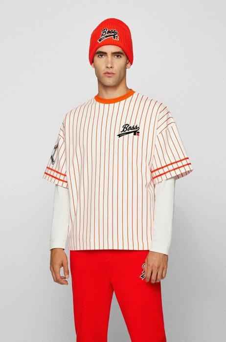 Camiseta relaxed fit de estilo béisbol con logo exclusivo, Blanco