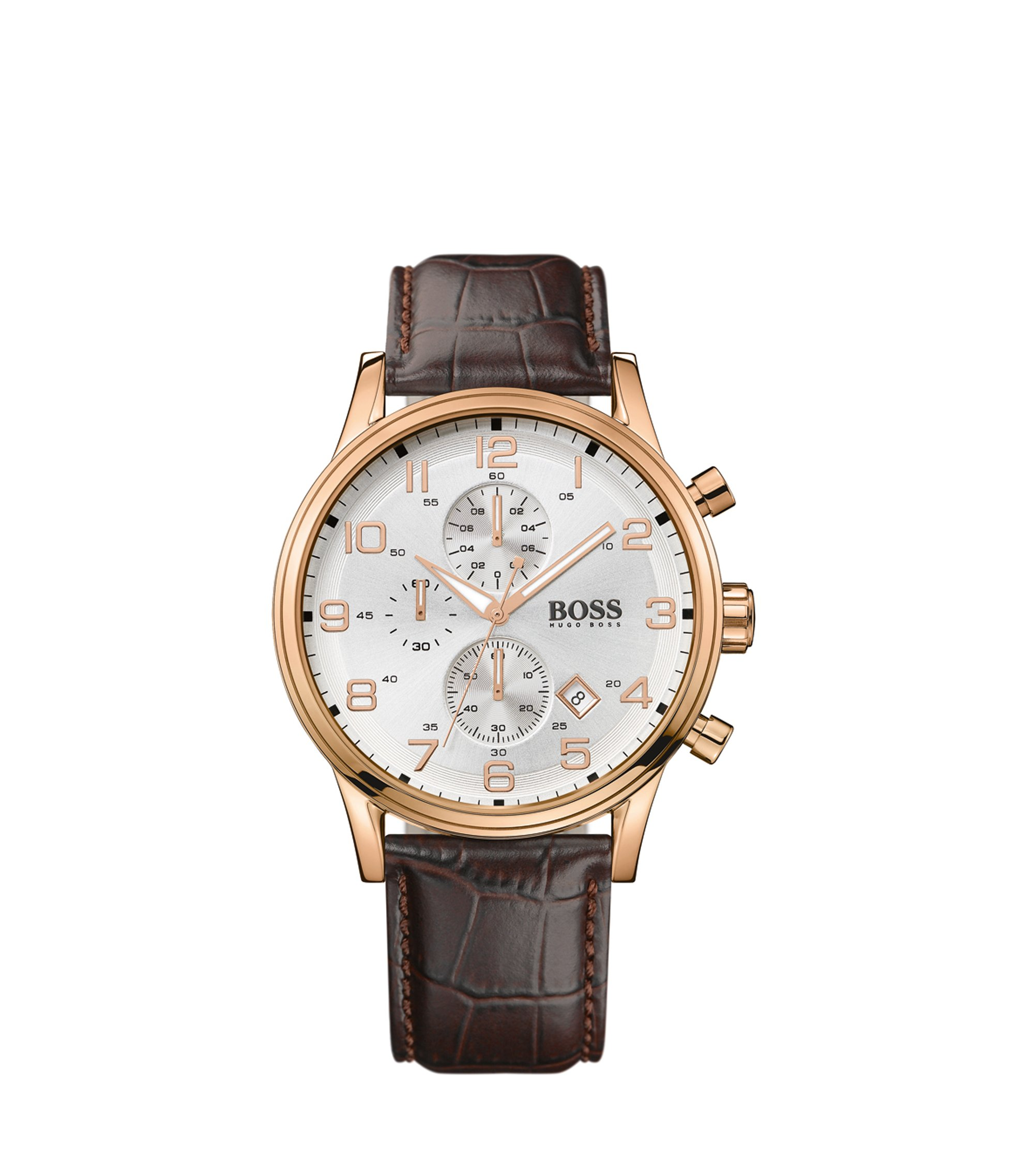 Three-hand chronograph watch in gold-plated stainless steel, Brown