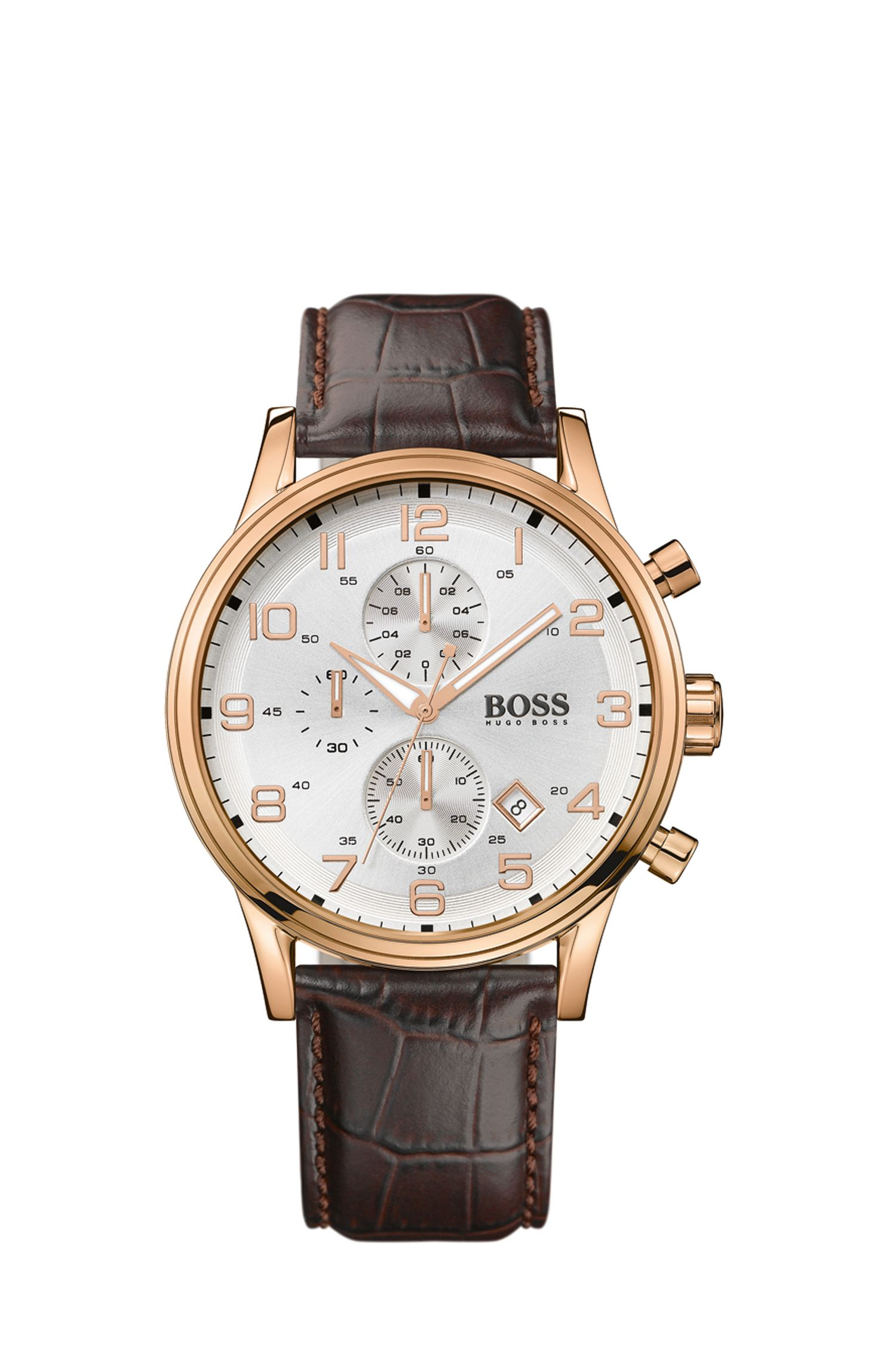 Three-hand chronograph watch in gold-plated stainless steel