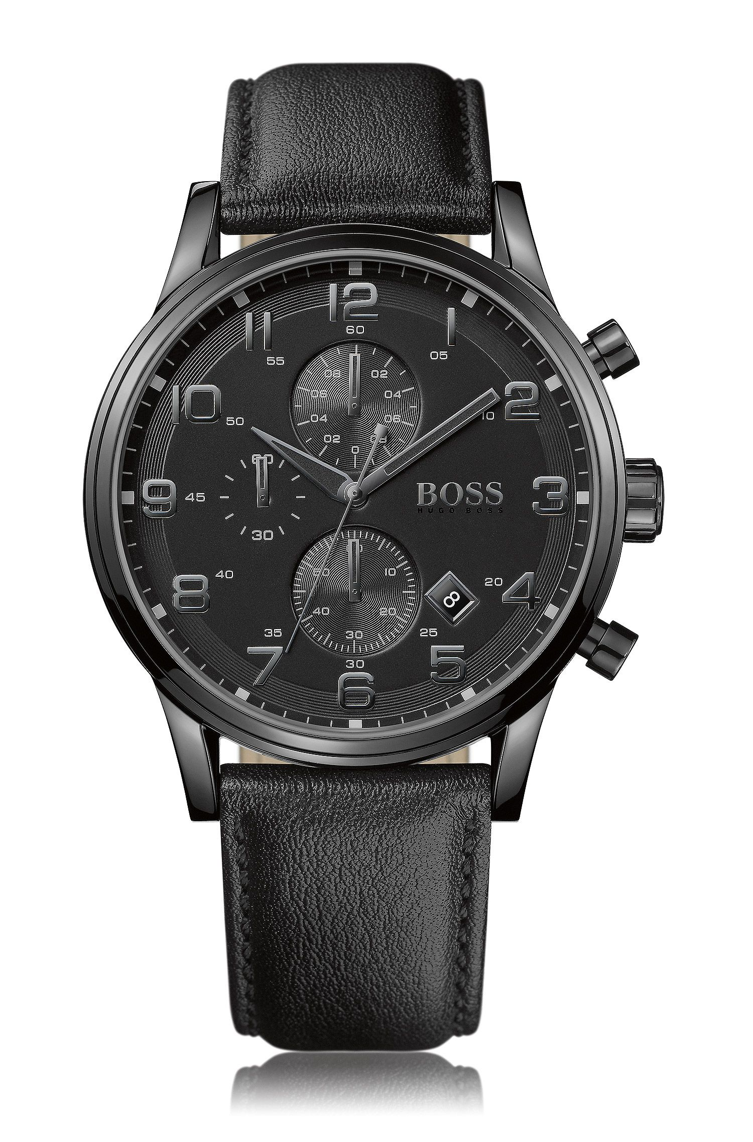Blackened stainless-steel two-eye chronograph watch with black dial