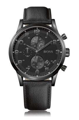 Blackened stainless-steel two-eye chronograph watch with black dial, Black