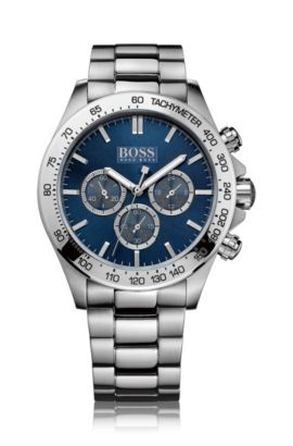 Stainless-steel chronograph watch with blue dial and three-row bracelet, Grey