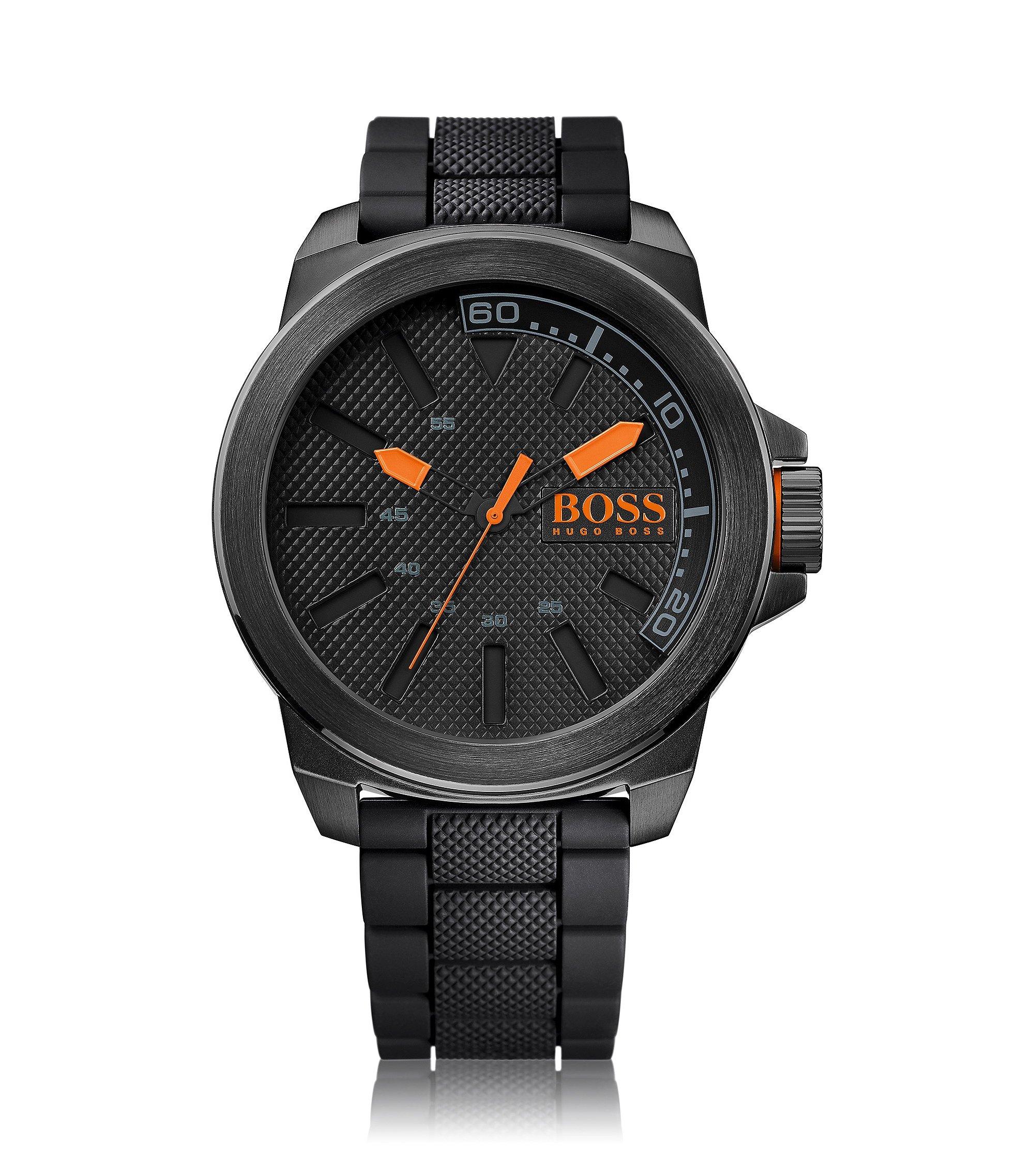Uhr aus Edelstahl mit drei Zeigern, strukturiertem Zifferblatt und Silikonarmband, Schwarz