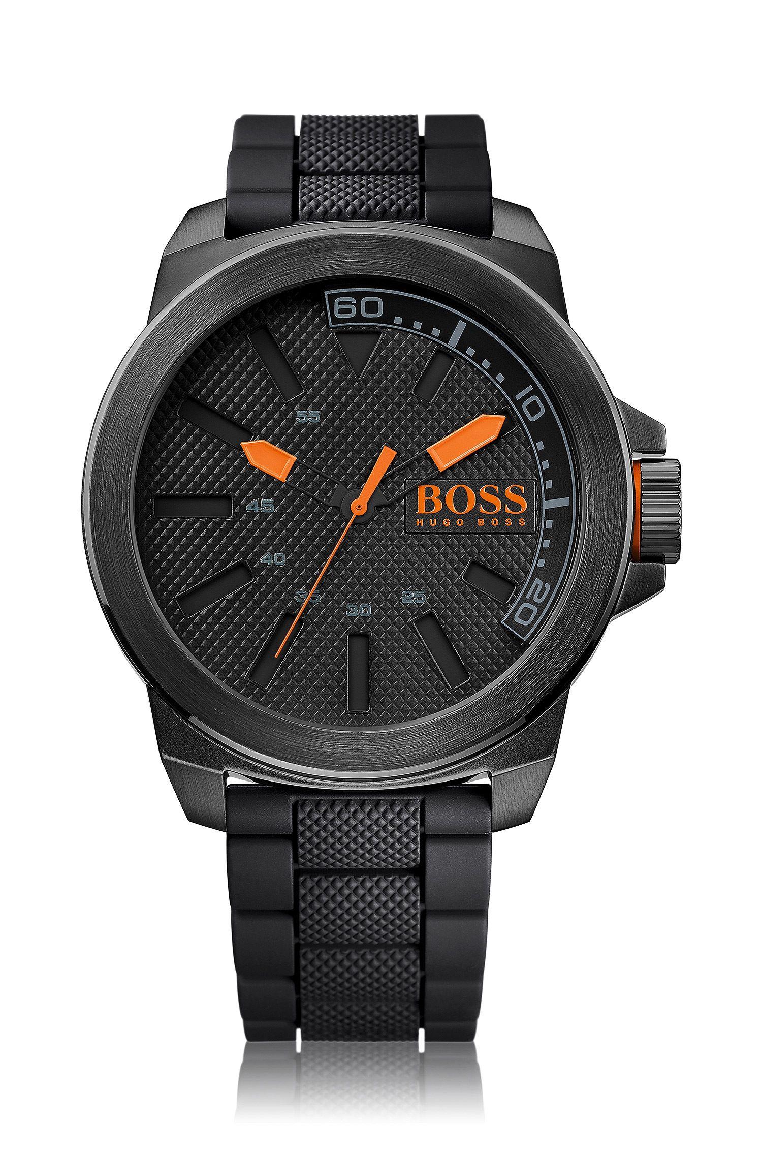 Blackened stainless-steel three-hand watch with textured dial and strap