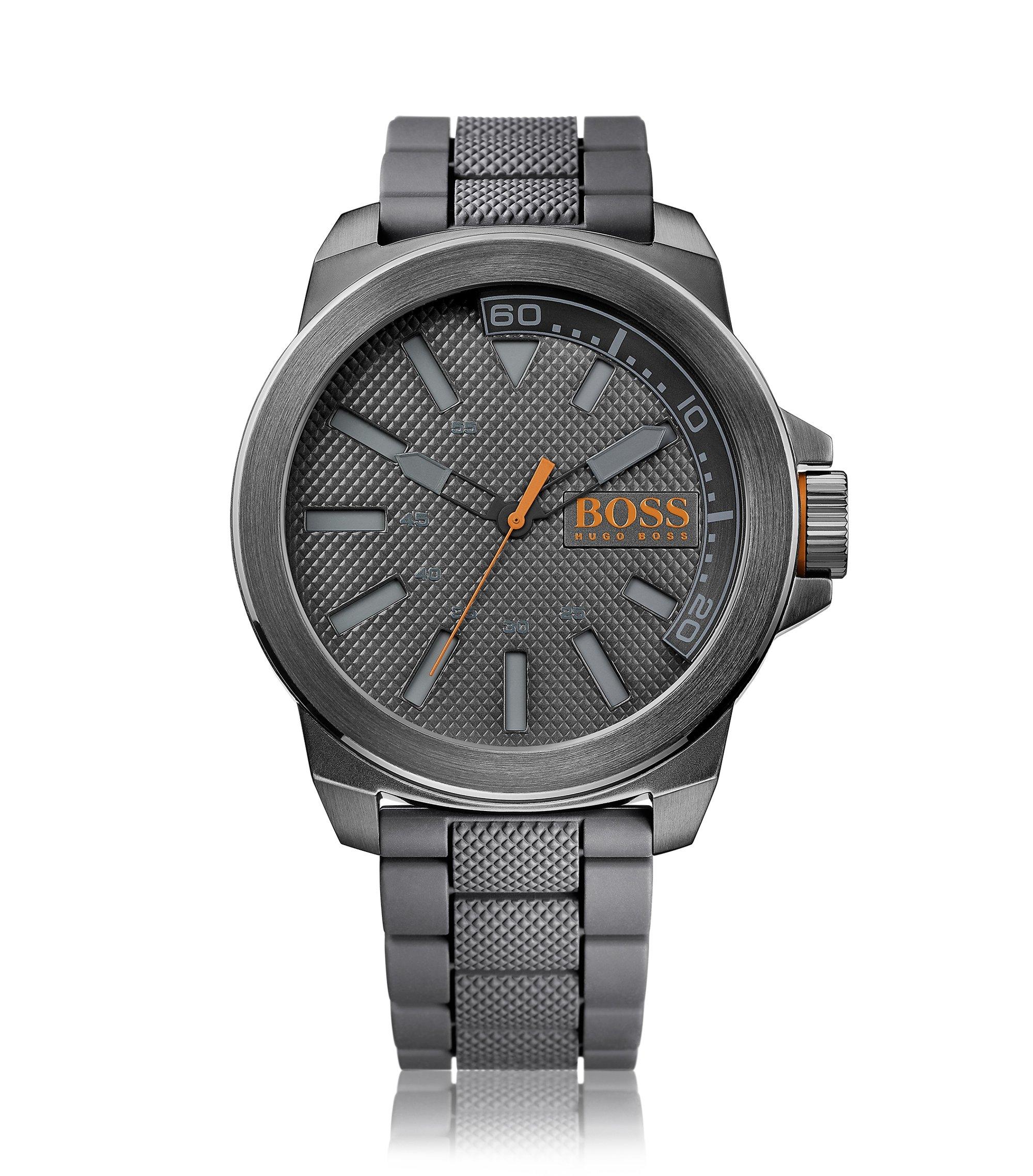 Horloge van donkergrijs roestvrij staal met drie wijzers, gestructureerde wijzerplaat en polsband, Grijs