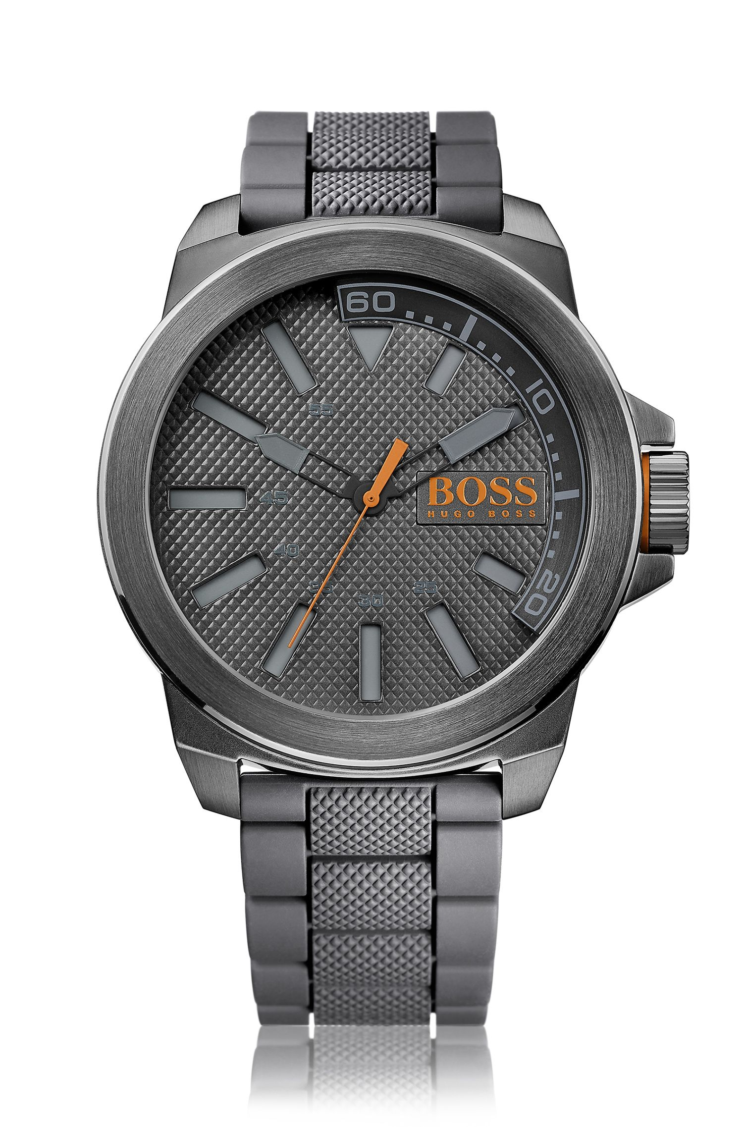 Dark-grey stainless-steel three-hand watch with textured dial and strap