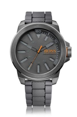 Dark-grey stainless-steel three-hand watch with textured dial and strap, Grey