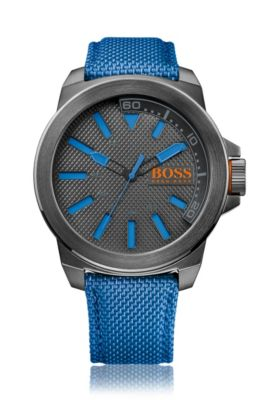 Three-hand watch with fabric strap, Blue