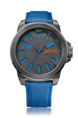 Horloge met drie wijzers en polsband van stof, Blauw