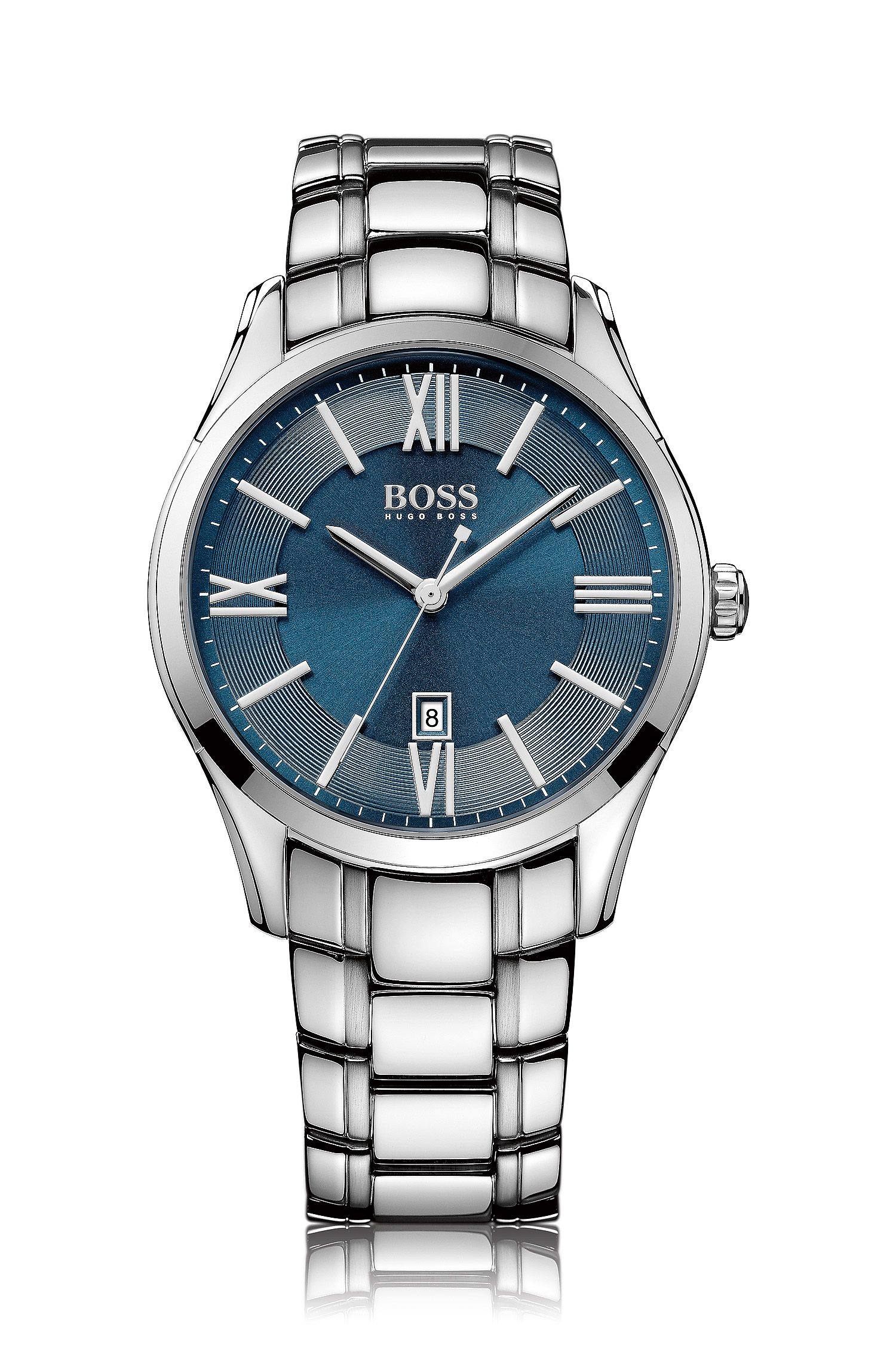 Polished stainless-steel watch with blue sunray dial and tapered bracelet