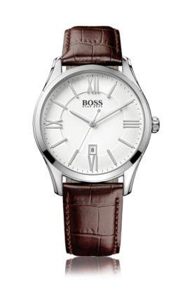 Horloge van gepolijst roestvrij staal met drie wijzers, witte wijzerplaat en polsband van leer