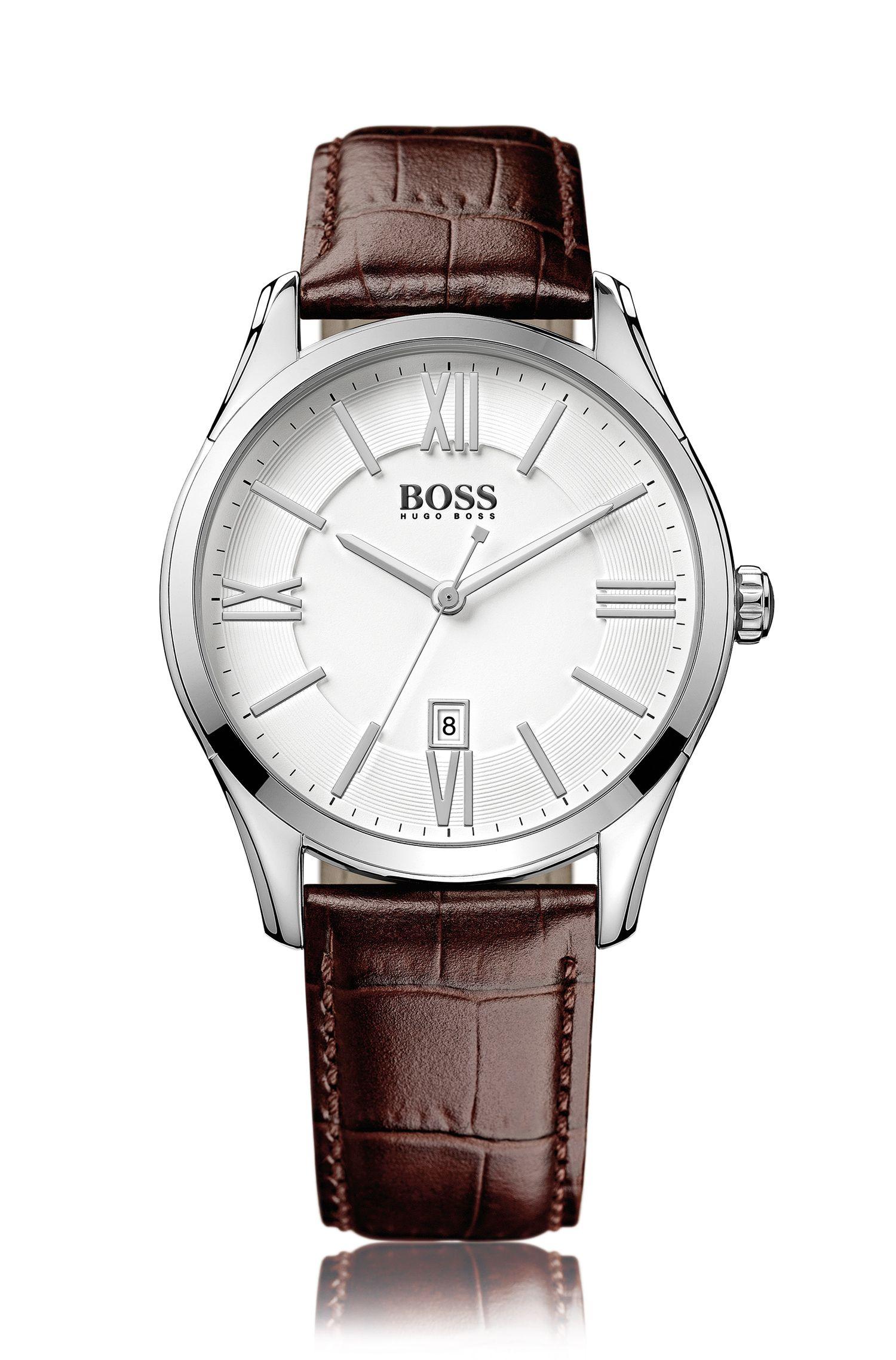Uhr aus poliertem Edelstahl mit drei Zeigern und Lederarmband