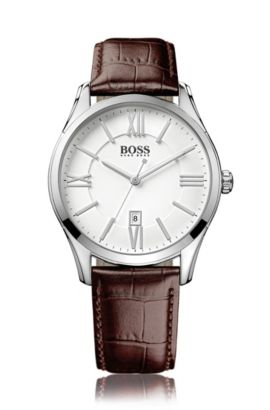 Polished stainless-steel three-hand watch with white dial and leather strap, Silver