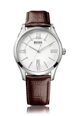 Horloge van gepolijst roestvrij staal met drie wijzers, witte wijzerplaat en polsband van leer, Zilver