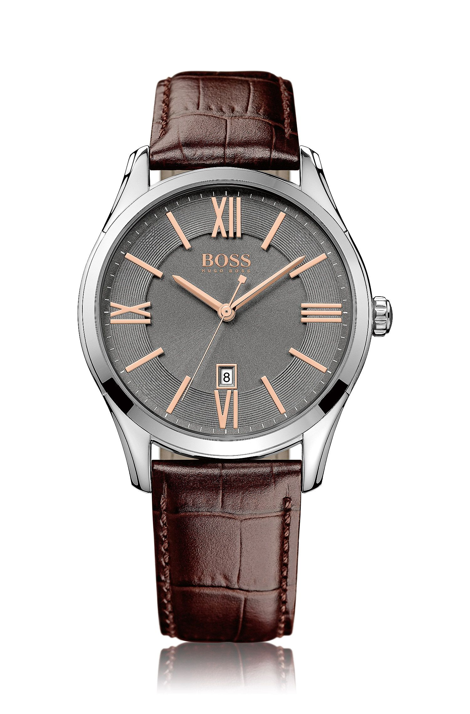 Polished stainless-steel watch with grey sunray dial and leather strap