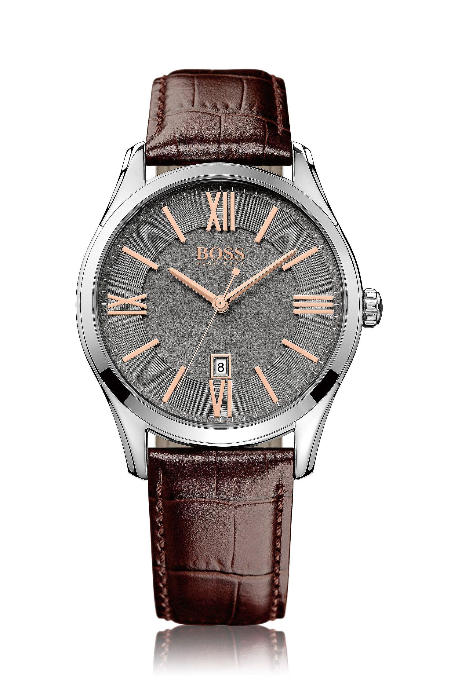 Horloge van roestvrij staal met grijze sunray-wijzerplaat en leren polsband