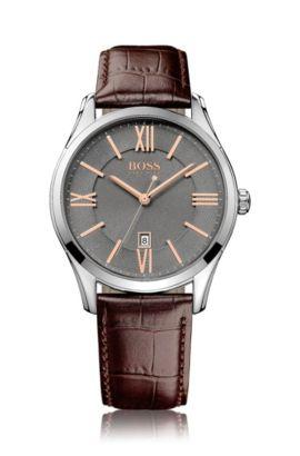 Horloge van roestvrij staal met grijze sunray-wijzerplaat en leren polsband, Bruin