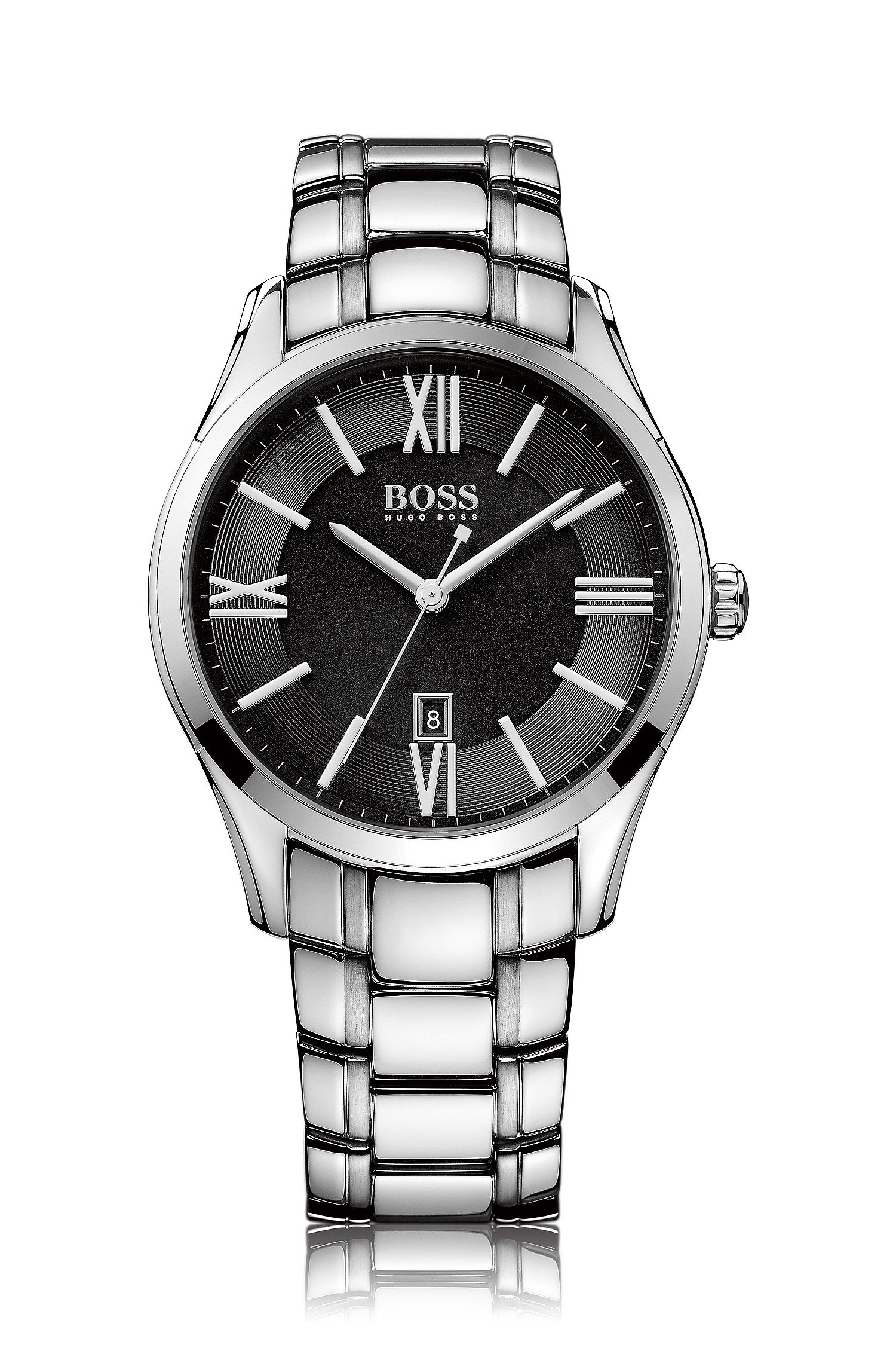 Polished stainless-steel watch with black sunray dial and tapered bracelet