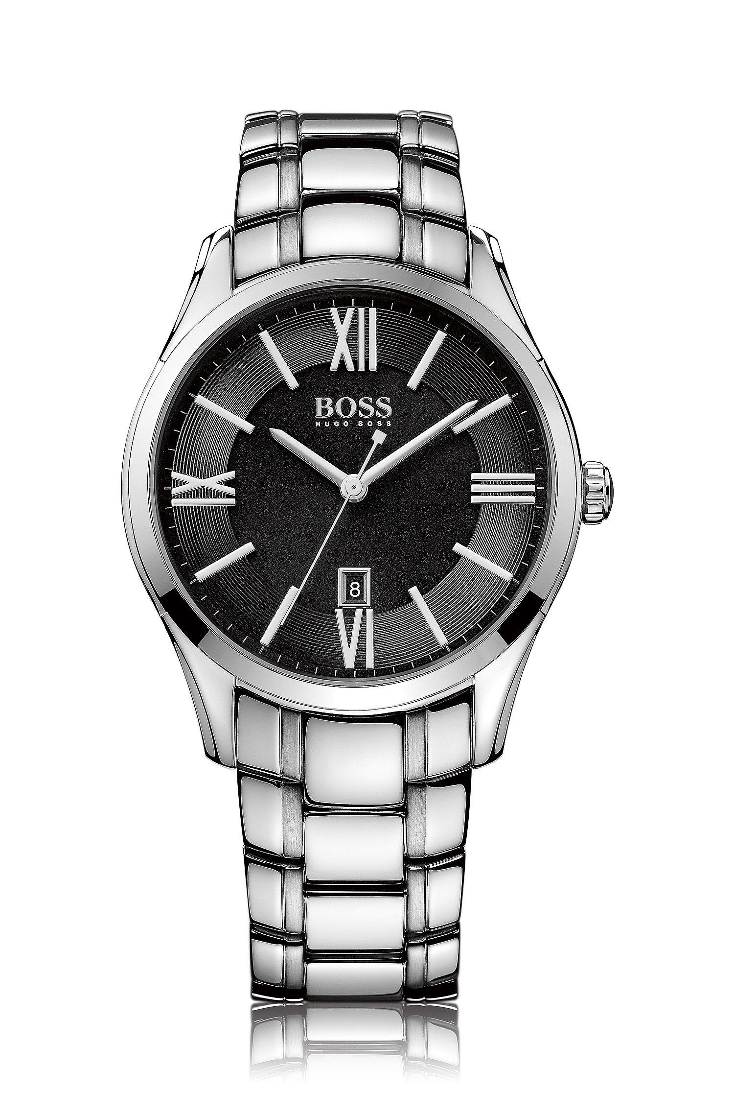 Reloj de acero inoxidable pulido con esfera negra satinada y pulsera estrecha