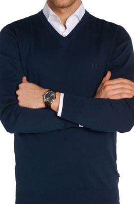 Zwei-Zeiger-Uhr mit Edelstahlgehäuse und geprägtem Lederarmband: 'HB1401', Assorted-Pre-Pack