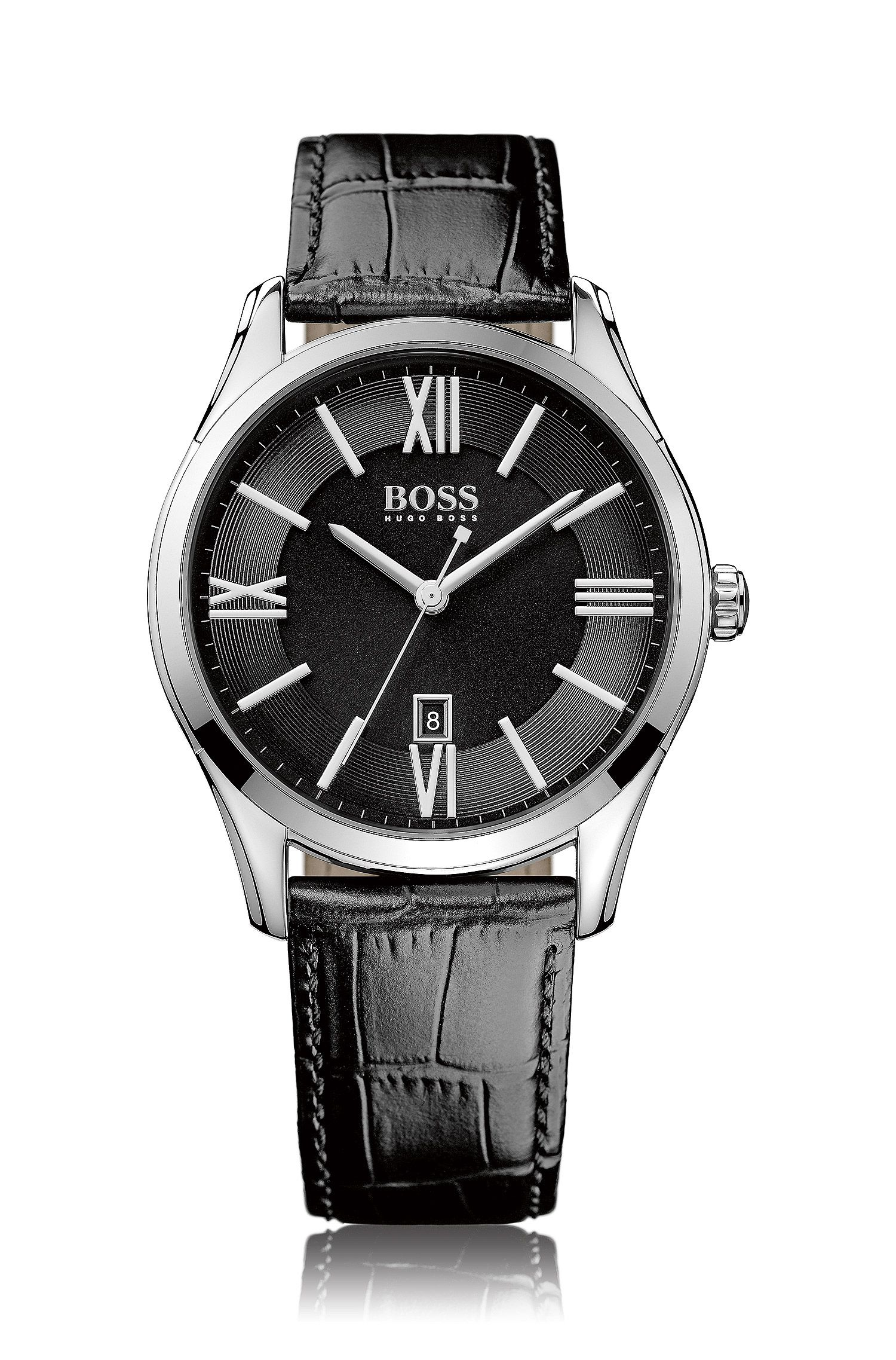 Uhr aus poliertem Edelstahl mit drei Zeigern und Guilloche-Detail