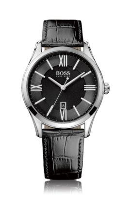 Horloge van gepolijst roestvrij staal met drie wijzers en zwarte wijzerplaat met guilloché, Zwart