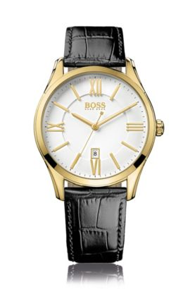 Watch with a quartz movement and a gold-plated stainless steel casing: 'HB6038', Black