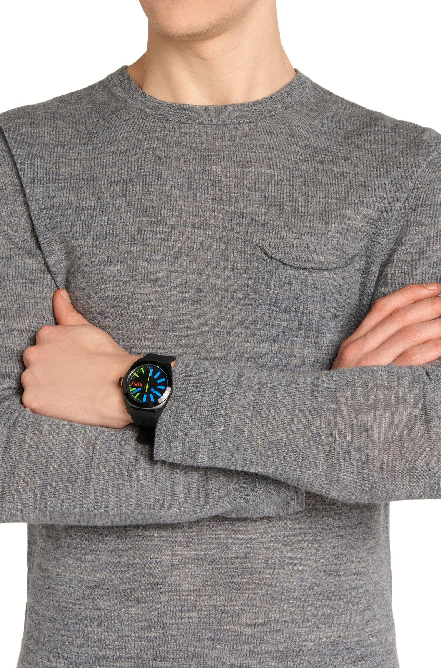 Montre-bracelet avec boîtier en acier inox noirci: «HB1851»