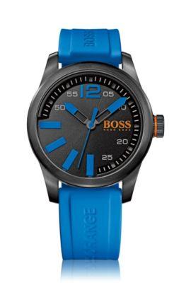 Horloge van gezwart roestvrij staal met drie wijzers, zwarte wijzerplaat en polsband van siliconen, Blauw