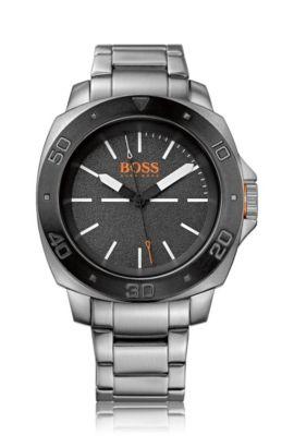 Drei-Zeiger-Uhr aus Edelstahl mit Gliederarmband: 'HB1431', Silber