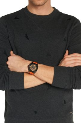 Drei-Zeiger-Uhr mit geschwärztem Edelstahlgehäuse und Lederarmband: 'HB2281', Assorted-Pre-Pack