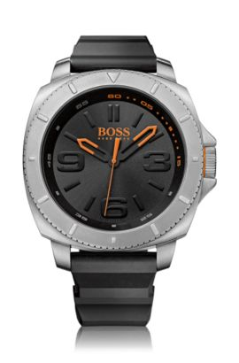 3-hand watch with large stainless steel case: 'HB2271', Black