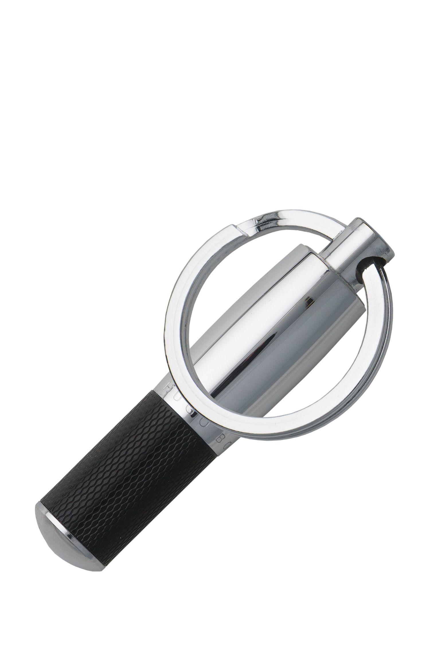 Porte-clés en laque noire texturée, Argent