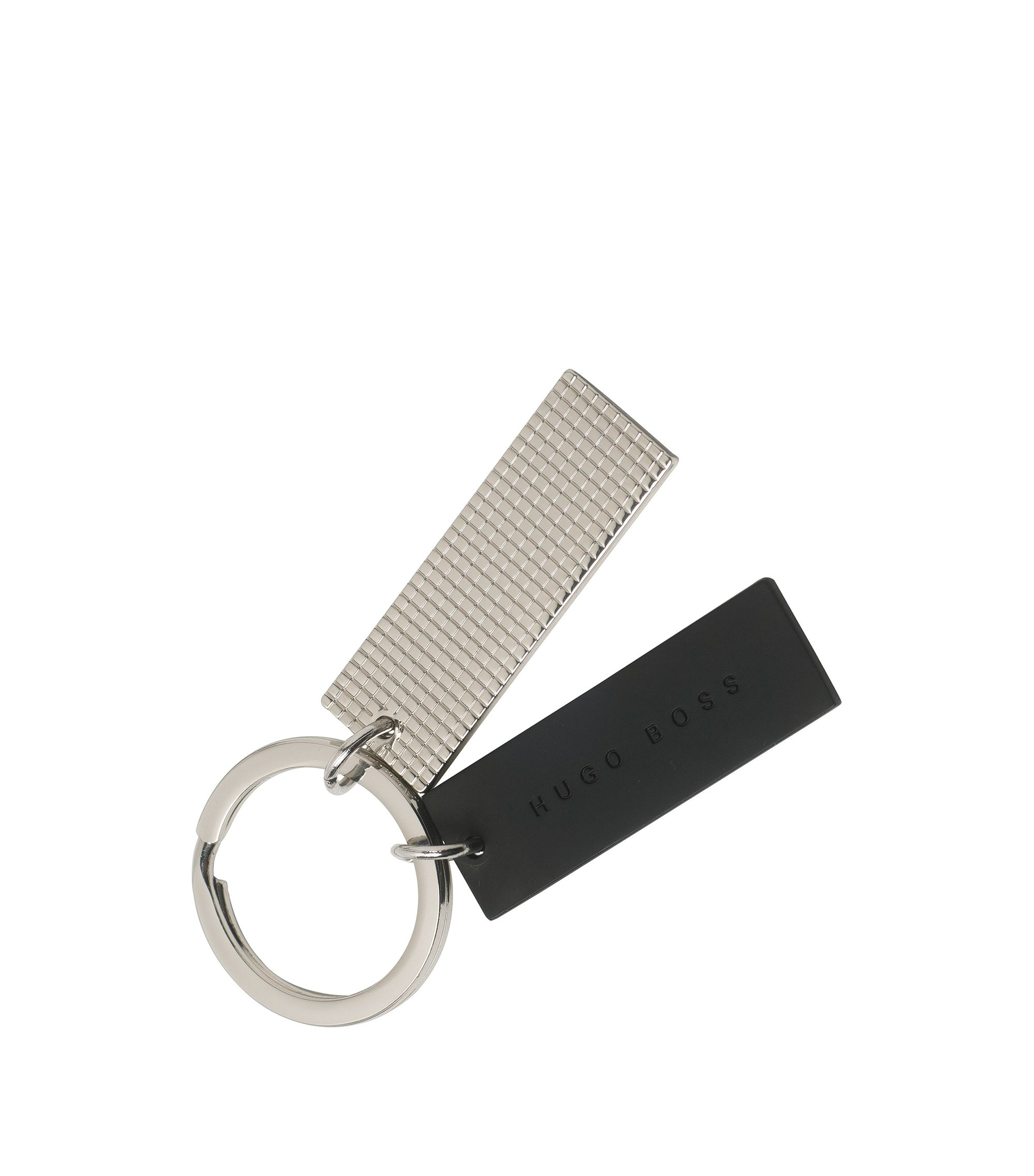 Two-tone keyring with twin pendants, Silver