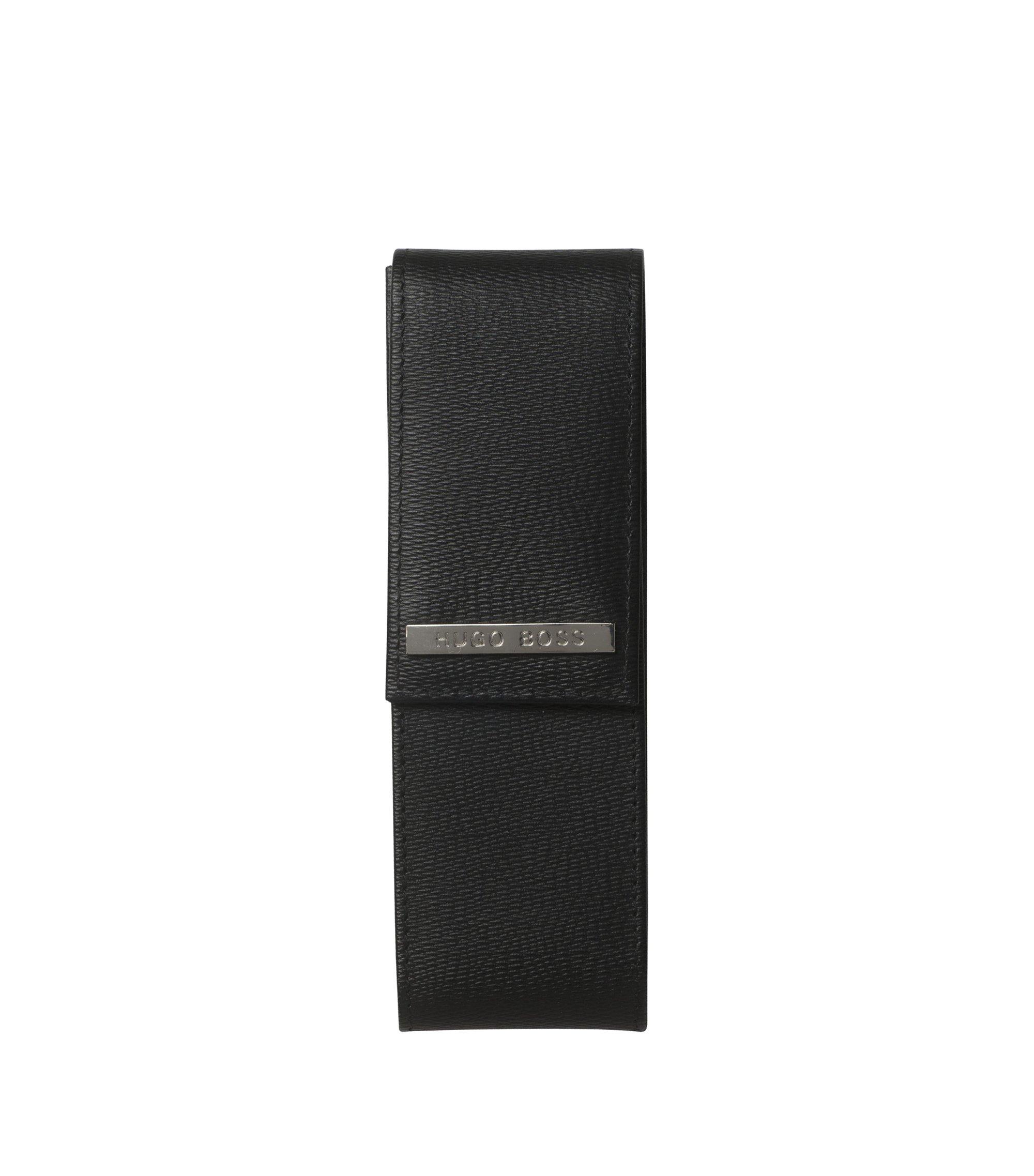 Stifte-Etui aus geprägtem Leder, Schwarz