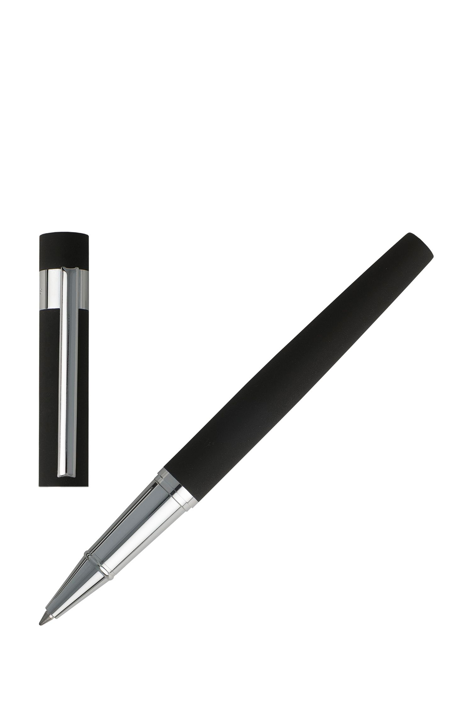 Rollerball pen in soft-touch black rubber, Black
