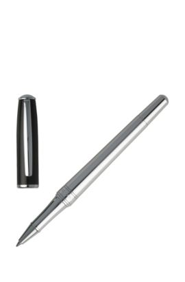 Rollerball pen with black-lacquer cap, Silver
